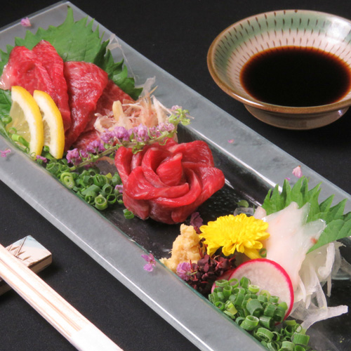 High class of marbled horse sashimi