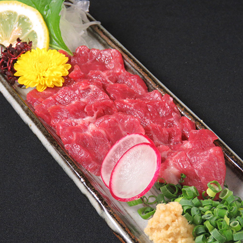 Red meat of horse sashimi